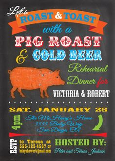 Great idea- Pig roast for rehearsal dinner so we dont have an entire dead animal spinning at the wedding!