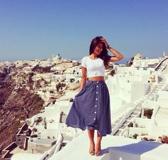 high waisted polka dots in Greece