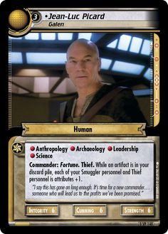 """""""• Jean-Luc Picard, Galen"""" [0 VP 148] (Alternate Print) from the STAR TREK CUSTOMIZABLE CARD GAME 2nd Edition by DECIPHER 