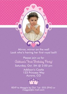 Image detail for -princess first birthday invitation | princess 1st birthday invitation