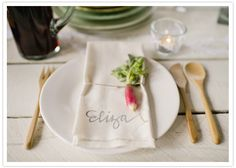 rustic place setting with radish #camillestyles