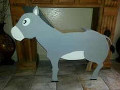 Donkey for palm sunday play made out of cardboard and spray painted