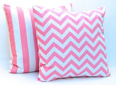 Throw Pillow Covers Decorative Pillows 20 x 20 Pink Chevron and Stripe Pillows Baby Girl Nursery Decor. $36.00, via Etsy.