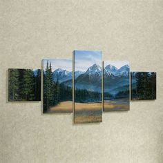Rocky Mountain Canvas Wall Art Set Multi Earth Set of Five