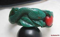 not Ca.1945 ....sorry, Ca. 2012.  Carved Bakelite Snake in Apple Tree Bracelet Garden of Eden Eve Bangle.