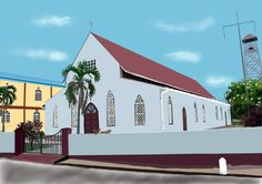"The folks at Good Shepherd Anglican, Tunapuna are planning to restore the Church and they wanted an ""after"" sketch.This time I used Procreate app as they have still not decided on colors, roofing style etc."