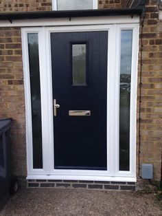 2 Panel 2 Arch Crystal Diamond Composite Front Door in Black with ...