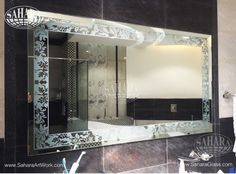 Bathroom silver mirror with sandblasted floral design frame
