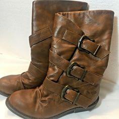 e3cdfa4aff227d Blowfish Boots Size 5 Ladies Whiskey Brown Buckle Mid-Calf Renaissance   100VAL  Blowfish
