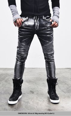 Bottoms :: Jeans :: Hardcore Wax Washing Skinny Biker-Jeans 103 - Mens Fashion Clothing For An Attractive Guy Look