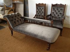 Chaise long sofa and matching armchairs