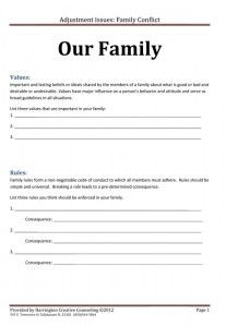 Here's a great activity for your next family night. Free Worksheet guides you through the creation of a unique set of family values, rules, and consequences.