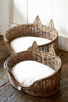 Wicker cat beds. Oh my god, they are so cute