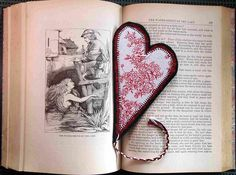 Heart Bookmark, Red Flowers Toile White and Black Classic. $10.00, via Etsy.