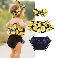 US Infant Toddler Baby Girls Sunflower Tank Tops Lace Shorts Outfits Set Clothes Cute Baby Girl Outfits, Baby Girl Dresses, Kids Outfits, Summer Outfits, Baby Nike Outfits, Winter Outfits, Baby Girl Fashion, Kids Fashion, Fashion Clothes