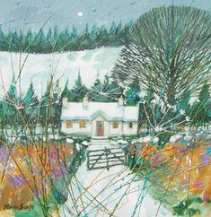 Deborah Phillips_Wintry Moon_Hand Embellished Signed Limited Edition_15x15 l Scottish Contemporary Art