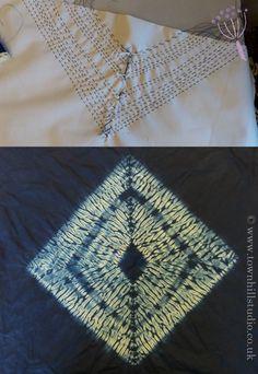 A strong miru shibori diamond design created on a workshop run by Annabel Wilson of Townhill Studio. Shows shibori stitching and the finished design.