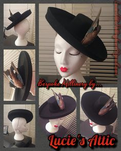 Bespoke vintage inspired hat by Lucie's Attic Millinery with detachable birds wings detail. For commissions please email LuciesAtticNottingham@gmail.com or find us on Facebook ❤️