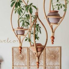 Make all your hanging garden dreams come true with this gorgeous Miya Hanging Planter Frame your favorite green little buddy with midcentury designed wood and a pot of yo. Rattan Planters, Hanging Planters, Garden Planters, Succulent Planters, Diy Hanging, Succulents Garden, Deco Design, Wood Design, Home Decor Accessories