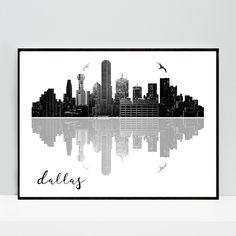 Dallas Printable Wall Art Black and White Instant Download, Minimalist, Cityscape, Texas Print, Dallas Skyline, Printable Poster by MSdesignart on Etsy
