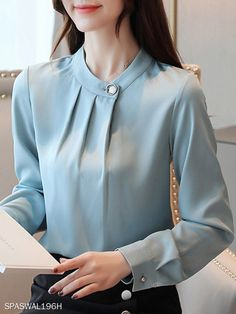 Female fashion decorative buckle collar solid color long-sleeved chiffon blouse Get the latest womens fashion online With of new styles every day from dresses, onesies, heels, & coats, # Stylish Dresses, Trendy Outfits, Fashion Outfits, Bell Sleeve Blouse, Short Sleeve Blouse, Long Sleeve, Female Fashion, Korean Fashion, Womens Fashion