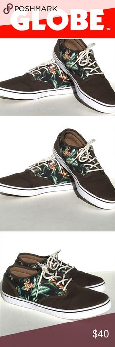 bba988bd6d79 GLOBE I Men s skate shoe size GLOBE men s brown with contrast tropical  print lace up skate shoe size Globe Shoes