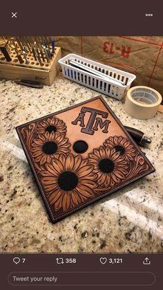 Leather grad cap Graduation Cap Designs, Graduation Cap Decoration, Graduation Caps, College Graduation, Leather Carving, Leather Tooling, Tooled Leather, Custom Leather Belts, Grad Hat