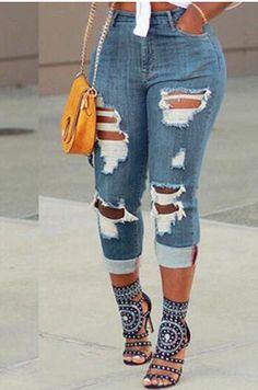 b92e4eda5573 Shyfull Street Broken Holes Light Jeans Light Blue Jeans