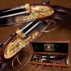 HOLLAND & HOLLAND DOUBLE RIFLE: Likely once showcased at Bashir Bagh Palace in India, this cased .500/.465 H belonged to Nawab Muhammed Moinuddin Khan. The embellished side plates feature varieties of gold (alloyed with silver, copper and platinum) enhanced by cloisonné enamel highlights that meld together to form the delicate stripe patterns on the tiger's hide and mottling on the vegetation that does little to hide the stag's horns.