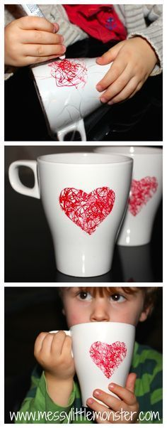 Adorable valentines gift for parents or grandparents! I love kids crafts. Messy Little Monster: DIY Heart Mug: Easy Kid Made Gifts Mothers Day Crafts, Valentine Day Crafts, Holiday Crafts, Kids Valentines, Kids Crafts, Craft Projects, Toddler Crafts, Homemade Gifts, Diy Gifts