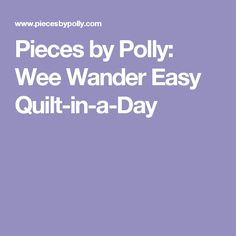 Pieces by Polly: Wee Wander Easy Quilt-in-a-Day