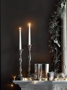 This elegant Christmas mantlepiece idea sees candlesticks and votives in silver and mercury set against the subtle glimmer of twinkling lights. Christmas Wishes, Christmas And New Year, Christmas Time, Christmas Gifts, Twinkle Lights, Tea Lights, Christmas Interiors, Elegant Christmas, House Of Fraser
