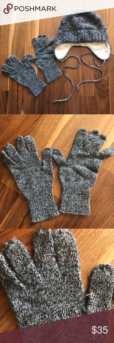 J. Crew Hat and Glove Set Heathered black gloves in a supersoft wool blend. Ribbed at the cuffs. Set includes matching ribbed hat that will help you bear the coldest of days in style year after year. Color best represented in close up picture of the hat (teal). J. Crew Accessories Gloves & Mittens