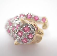 Vintage 1.55CT Round Ruby & Diamond Leopard Designed Ring 14K Yellow Gold  #Handmade #Cluster