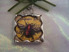 BEE Soldered Glass Pendant by victoriacharlotte on Etsy, $9.00