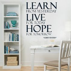 Wall Sticker LEARN LIVE HOPE by Sticky!!! Wall Stickers, Wall Murals, Bookcase, Canvas Prints, Shelves, Live, Quotes, Home Decor, Wall Clings