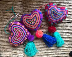 Mexican Large Felt Hearts / Hand Embroidered hearts with pom-poms / heart pompom tassel charm / wedding favors / baby shower Mexican Embroidery, Felt Decorations, Felt Christmas Ornaments, Heart Ornament, Wool Applique, Felt Hearts, Embroidered Flowers, Tassels, Needle Felting