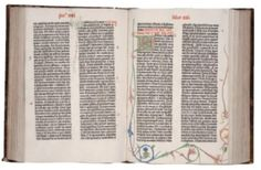 Johann Gutenberg, pages 146-147 from the Gutenberg Bible, 1450-1455. The superbe typographic legibility and texture, generous margins and excellent presswork make this first printed book a canon of quality that has seldom been surpassed. An illuminator added the red headers and text, initials and floral margins decorated by hand.