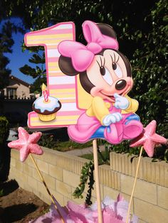 Baby Minnie Mouse Centerpiece for 1st Birthday. $15.00, via Etsy.