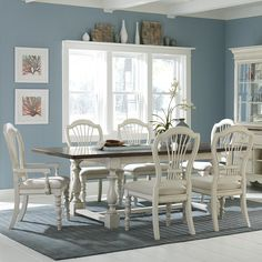 Pine Island Trestle Dining Table with Wheat Back Chairs in Old White by Hillsdale Furniture
