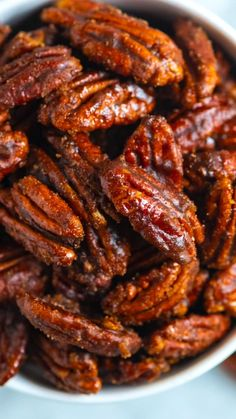 Thanks to a skillet and the stovetop, you can make these easy candied pecans in under 10 minutes. Sweet And Spicy Pecans Recipe, Spiced Pecans, Roasted Pecans, Honey Glazed Pecans Recipe, Sugar Coated Pecans, Sugared Pecans, Candied Nuts, Lunch Recipes, Cooking Recipes