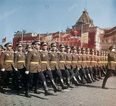Staff officers and officer-scholars of Soviet Air Force academies marching through Red Square in the 1968 Moscow May Day Parade.