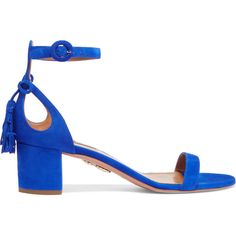 Aquazzura Pixie bow-embellished suede sandals (798 AUD) ❤ liked on Polyvore featuring shoes, sandals, blue, bright blue shoes, blue sandals, buckle shoes, mid-heel shoes and mid-heel sandals