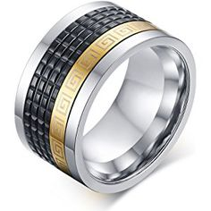 12mm Wide Stainless Steel Black Gold Greek Key Pattern Spinner Ring Bands for Men