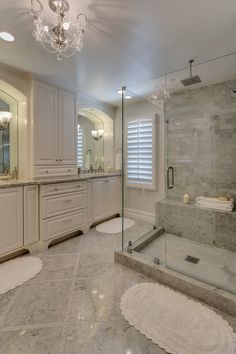 White Master Bathroom, marble, white cabinets