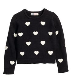 Black/hearts. Sweater in thick, fine-knit cotton-blend fabric with an embroidered pattern. Ribbing at cuffs and hem.