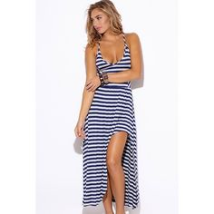 """🎉HP🎉Navy & Gray Striped Maxi Dress #595 High low cut & side slit uniquely combined to form this beautiful flowy dress that's a must have this summer! Spaghetti straps and unique racer back design makes this cute maxi super feminine and sweet. Made of super soft & comfortable light weight jersey. Very stretchy, unlined. 95% rayon, 5% spandex. Made in USA. Model is 5'10"""", bust 34"""", waist 26"""", hips 35"""" & she is wearing a small. PRICE IS FIRM! W by Wenjie Dresses Maxi"""