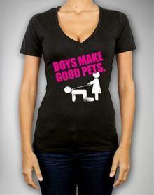 'Boys Make Good Pets' Junior V-neck Fitted Tee