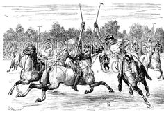 Polo. Victorian picture showing a polo match: two players approach the ball at speed. Download high quality jpeg for just £5. Perfect for framing, logos, letterheads, and greetings cards.