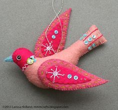 Snow Bird ornament pattern available! Link to tutorial on this website